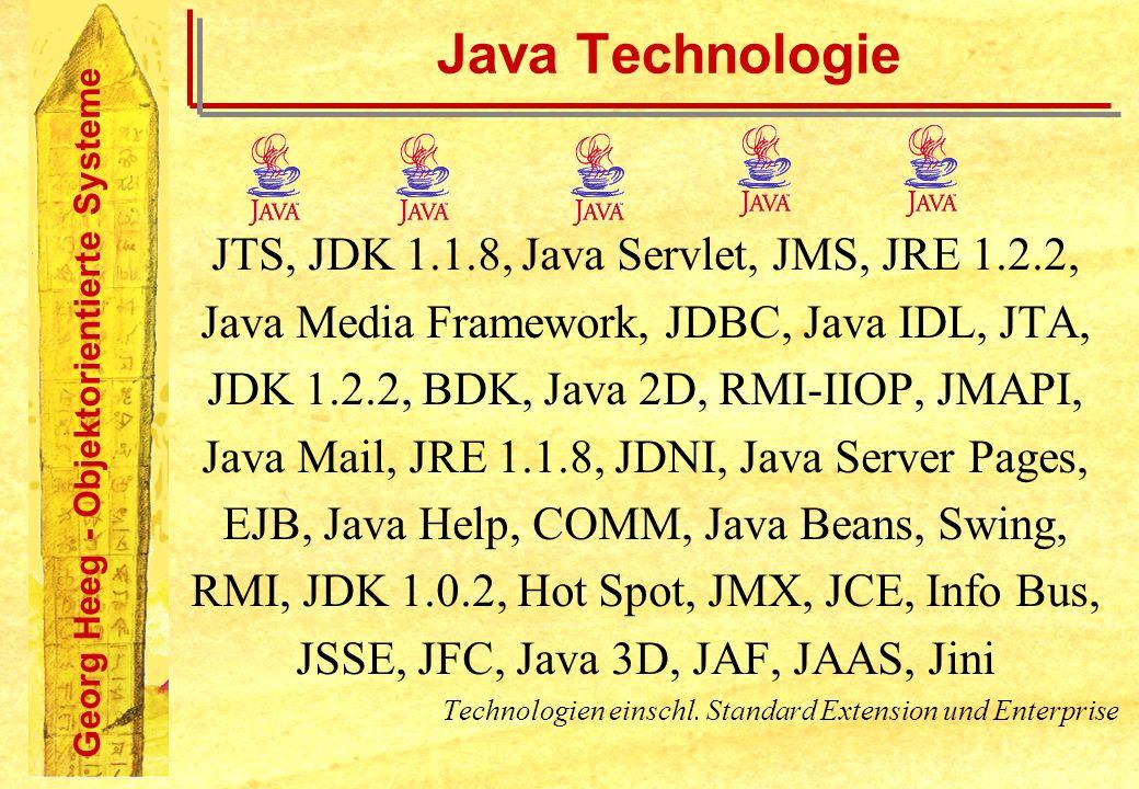 Georg Heeg - Objektorientierte Systeme Java Technologie JTS, JDK 1.1.8, Java Servlet, JMS, JRE 1.2.2, Java Media Framework, JDBC, Java IDL, JTA, JDK 1