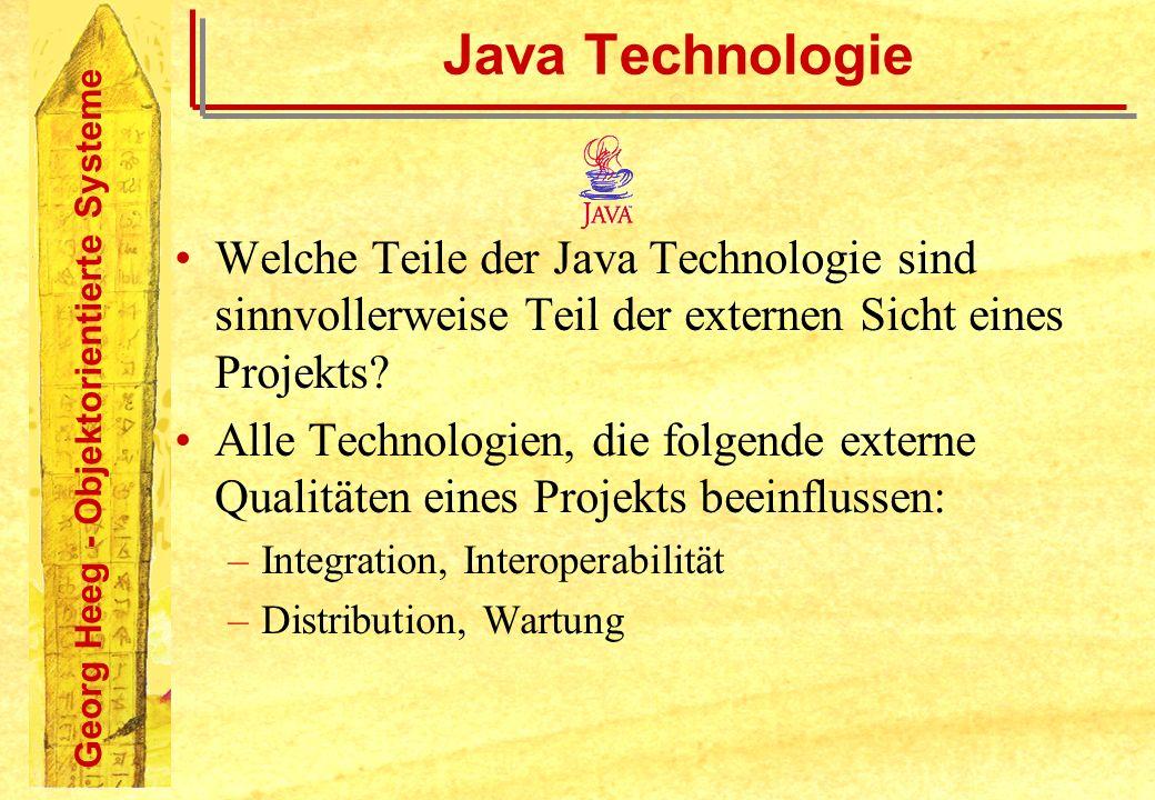 Georg Heeg - Objektorientierte Systeme Java Technologie Welche Teile der Java Technologie sind sinnvollerweise Teil der externen Sicht eines Projekts?