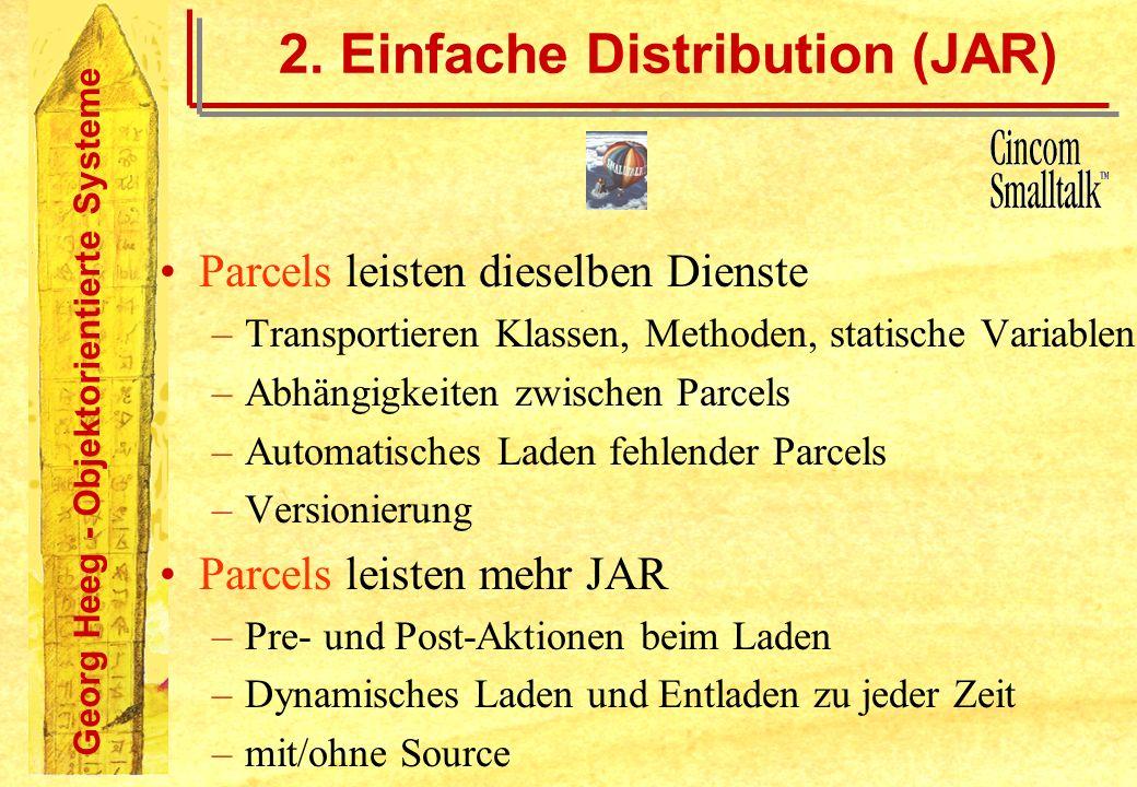 Georg Heeg - Objektorientierte Systeme 2. Einfache Distribution (JAR) Parcels leisten dieselben Dienste –Transportieren Klassen, Methoden, statische V