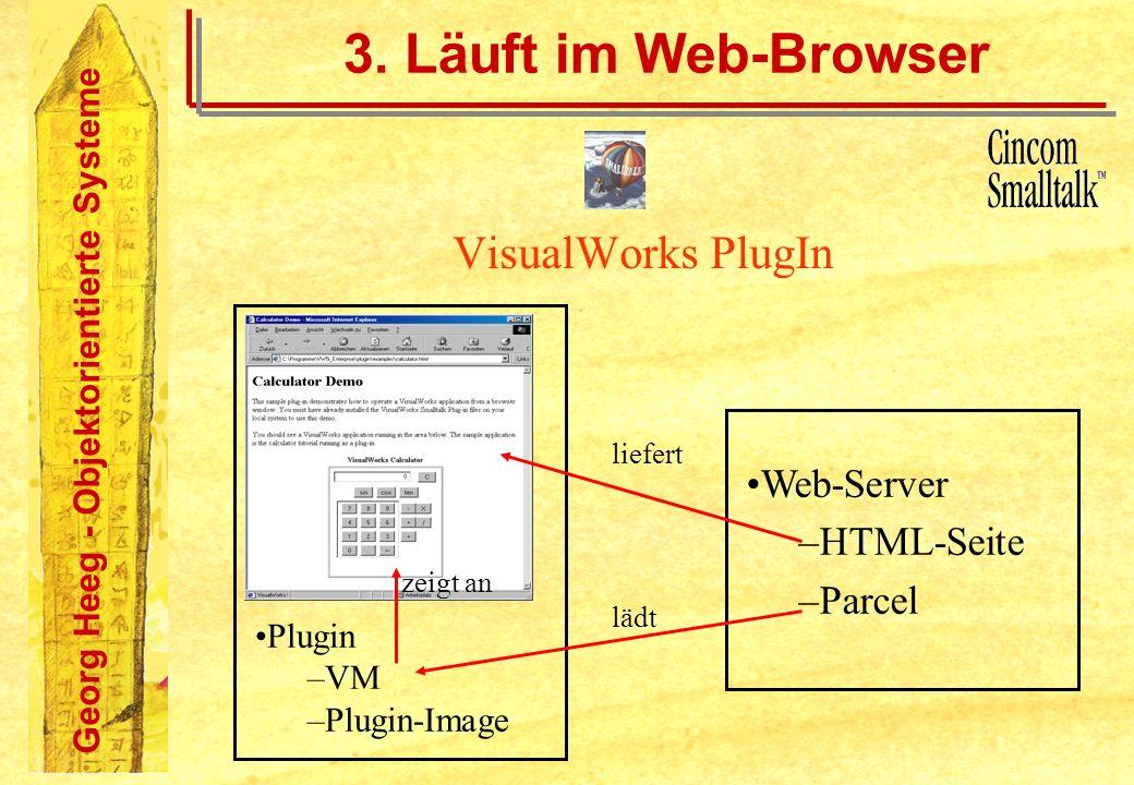 Georg Heeg - Objektorientierte Systeme Plugin –VM –Plugin-Image 3. Läuft im Web-Browser VisualWorks PlugIn Web-Server –HTML-Seite –Parcel liefert lädt