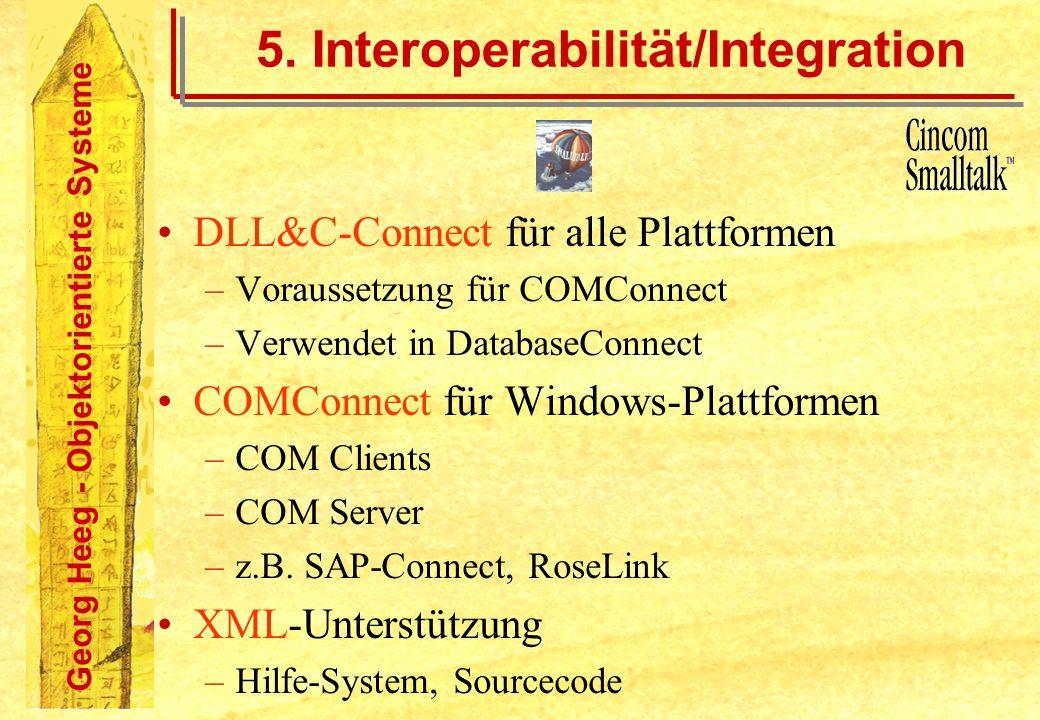 Georg Heeg - Objektorientierte Systeme 5. Interoperabilität/Integration DLL&C-Connect für alle Plattformen –Voraussetzung für COMConnect –Verwendet in