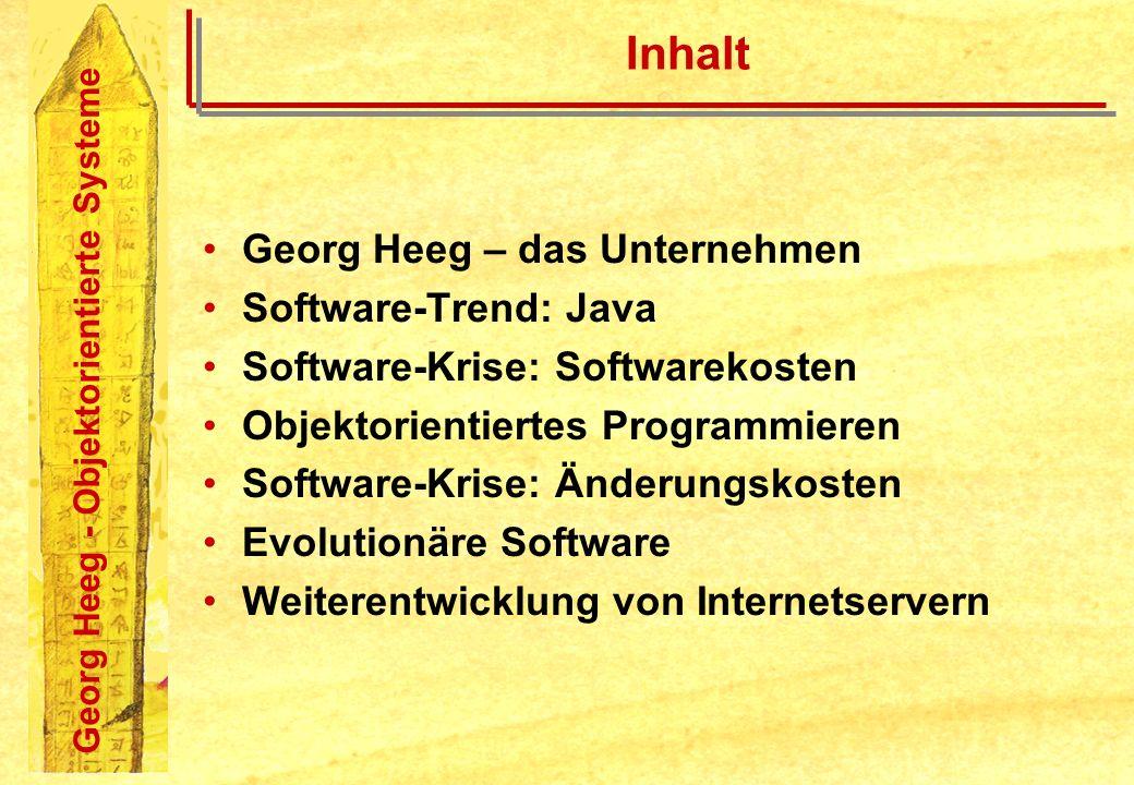 Georg Heeg - Objektorientierte Systeme Inhalt Georg Heeg – das Unternehmen Software-Trend: Java Software-Krise: Softwarekosten Objektorientiertes Prog