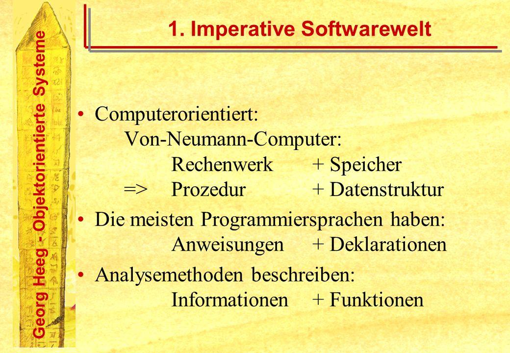 Georg Heeg - Objektorientierte Systeme 1. Imperative Softwarewelt Computerorientiert: Von-Neumann-Computer: Rechenwerk+ Speicher =>Prozedur+ Datenstru