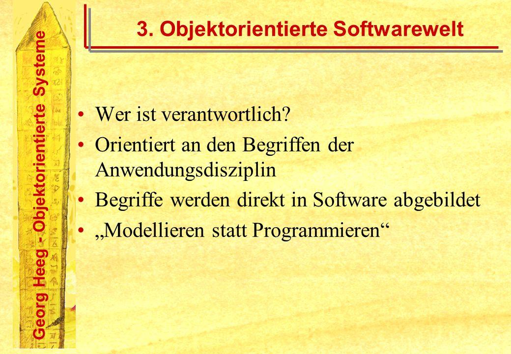 Georg Heeg - Objektorientierte Systeme 3. Objektorientierte Softwarewelt Wer ist verantwortlich? Orientiert an den Begriffen der Anwendungsdisziplin B