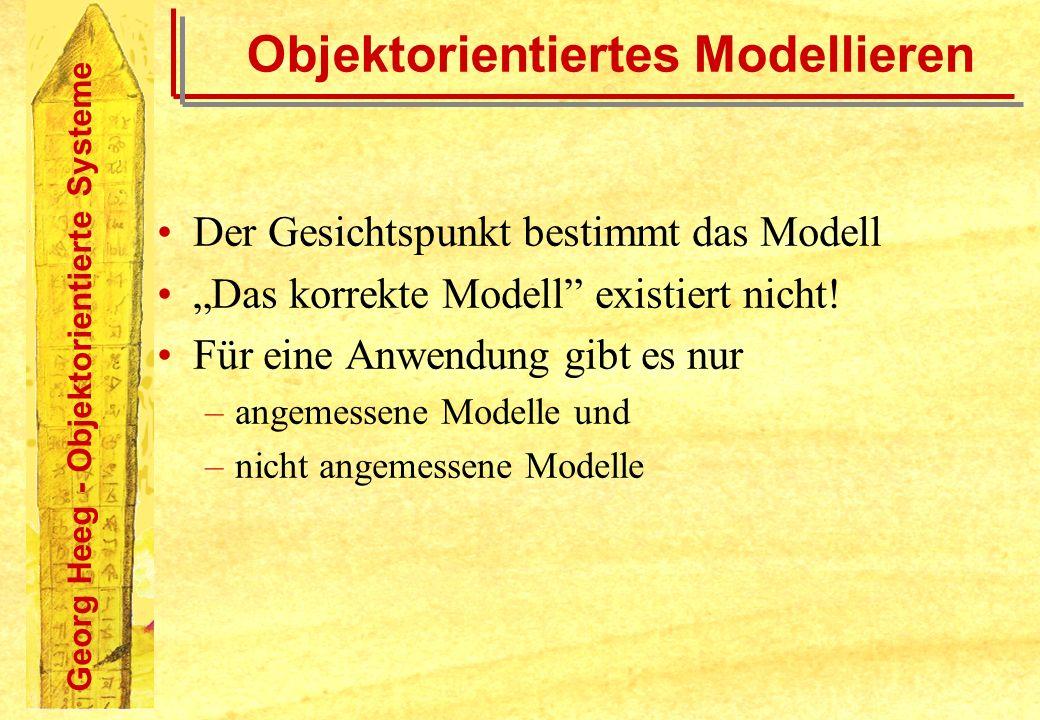 Georg Heeg - Objektorientierte Systeme Objektorientiertes Modellieren Der Gesichtspunkt bestimmt das Modell Das korrekte Modell existiert nicht! Für e