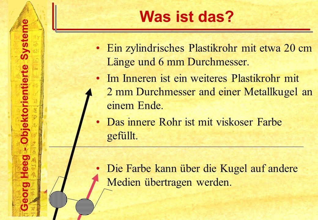 Georg Heeg - Objektorientierte Systeme Was ist das? Ein zylindrisches Plastikrohr mit etwa 20 cm Länge und 6 mm Durchmesser. Im Inneren ist ein weiter
