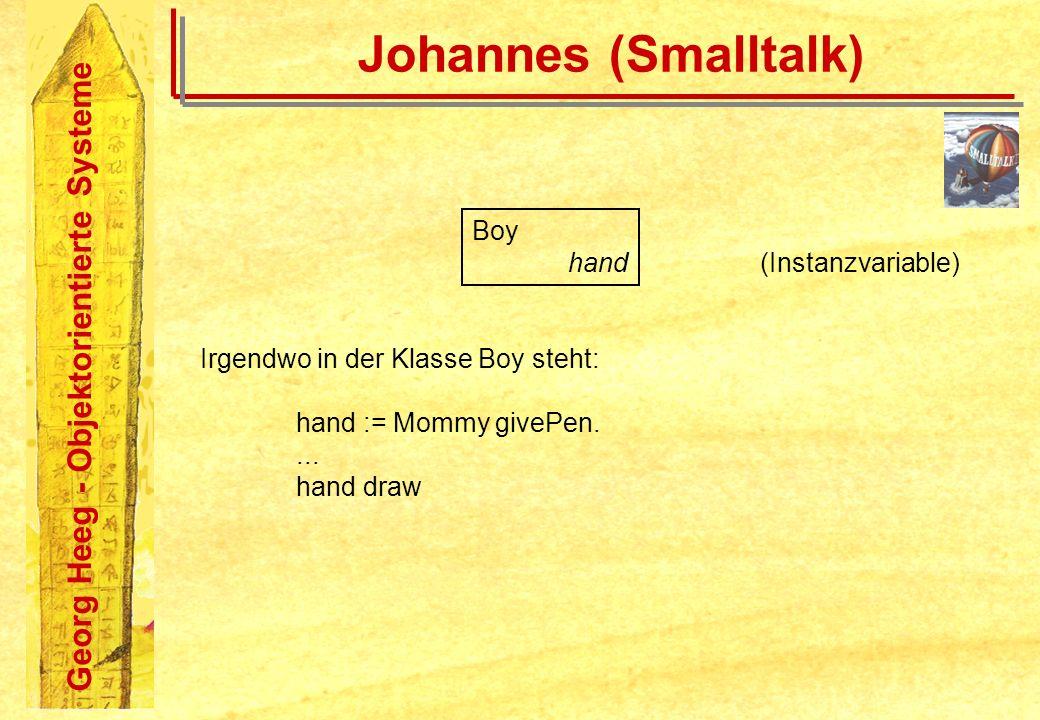 Georg Heeg - Objektorientierte Systeme Johannes (Smalltalk) Boy hand (Instanzvariable) Irgendwo in der Klasse Boy steht: hand := Mommy givePen.... han