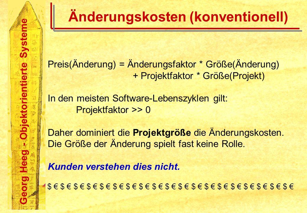 Georg Heeg - Objektorientierte Systeme Änderungskosten (konventionell) Preis(Änderung) = Änderungsfaktor * Größe(Änderung) + Projektfaktor * Größe(Pro