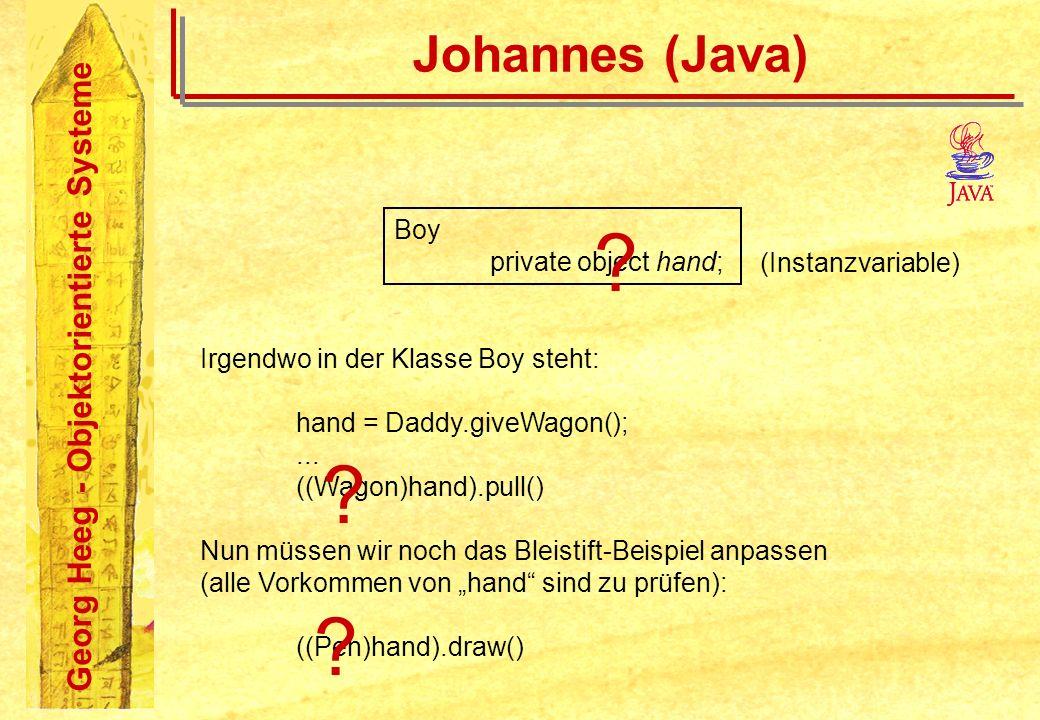 Georg Heeg - Objektorientierte Systeme Johannes (Java) Boy private object hand; (Instanzvariable) Irgendwo in der Klasse Boy steht: hand = Daddy.giveW