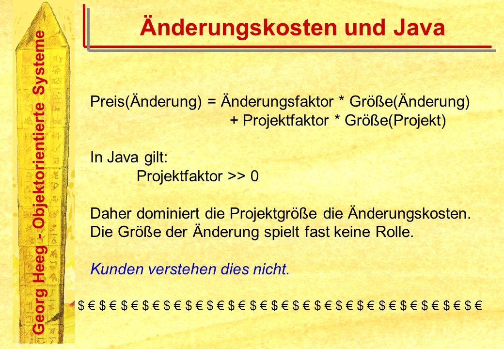 Georg Heeg - Objektorientierte Systeme Änderungskosten und Java Preis(Änderung) = Änderungsfaktor * Größe(Änderung) + Projektfaktor * Größe(Projekt) I