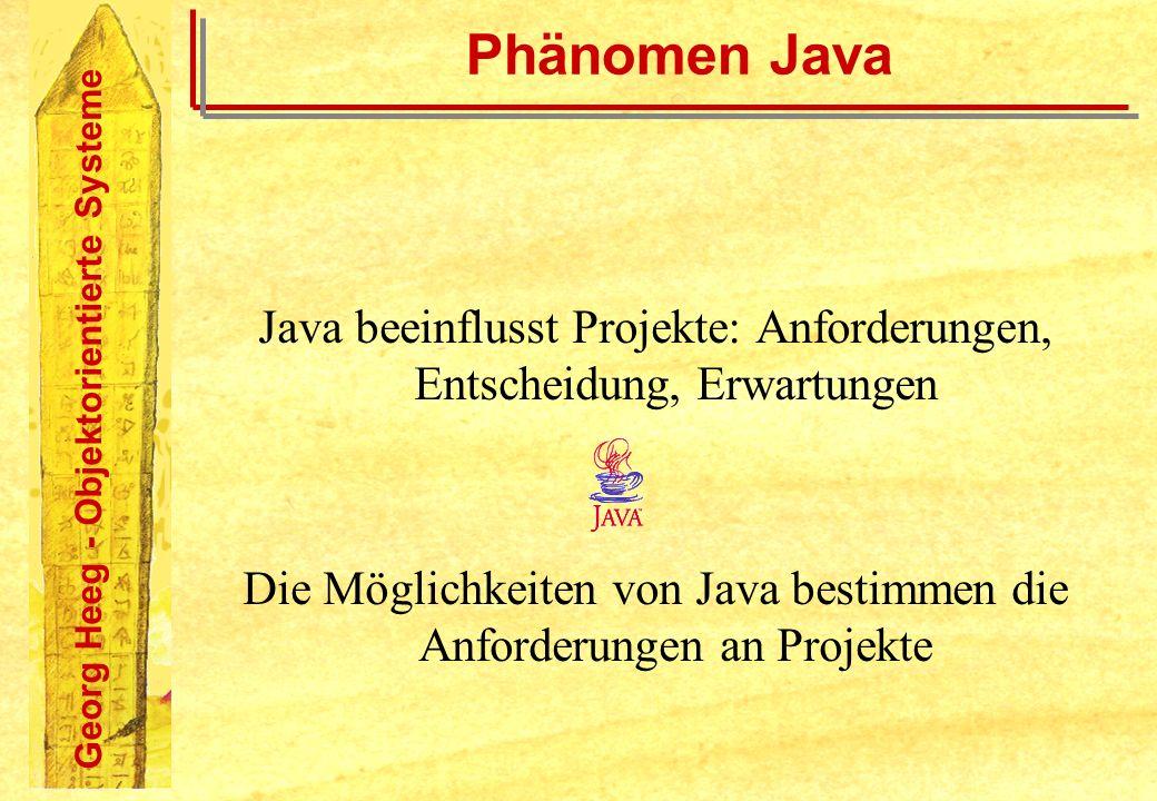 Georg Heeg - Objektorientierte Systeme Phänomen Java Java beeinflusst Projekte: Anforderungen, Entscheidung, Erwartungen Die Möglichkeiten von Java be