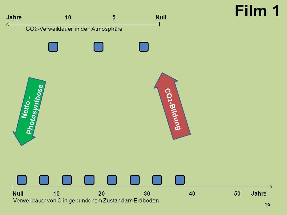 Netto - Photosynthese 1020304050 Jahre Verweildauer von C in gebundenem Zustand am Erdboden CO 2 -Verweildauer in der Atmosphäre Null 10Null5Jahre CO