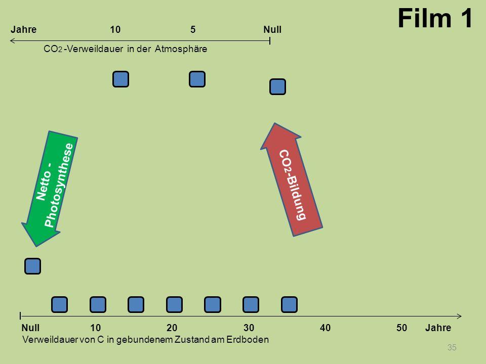35 1020304050 Jahre Verweildauer von C in gebundenem Zustand am Erdboden CO 2 -Verweildauer in der Atmosphäre Null 10Null5Jahre Film 1 Netto - Photosy