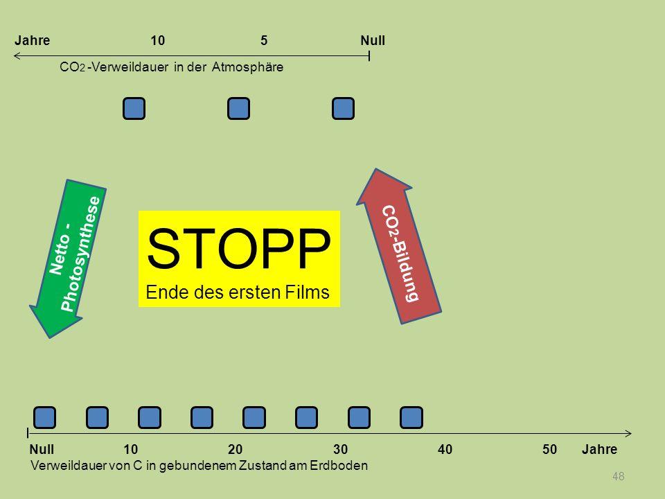 48 STOPP Ende des ersten Films Netto - Photosynthese 1020304050 Jahre Verweildauer von C in gebundenem Zustand am Erdboden CO 2 -Verweildauer in der A