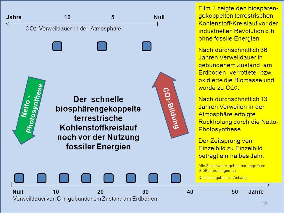 49 1020304050 Jahre Verweildauer von C in gebundenem Zustand am Erdboden CO 2 -Verweildauer in der Atmosphäre Film 1 zeigte den biospären- gekoppelten