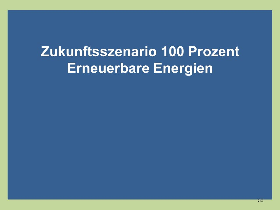 Zukunftsszenario 100 Prozent Erneuerbare Energien 50