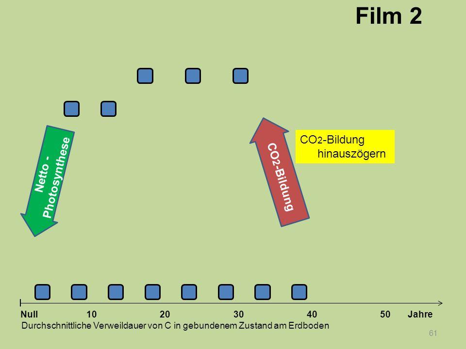 61 1020304050 Jahre Durchschnittliche Verweildauer von C in gebundenem Zustand am Erdboden Null Netto - Photosynthese CO 2 -Bildung Film 2 CO 2 -Bildu
