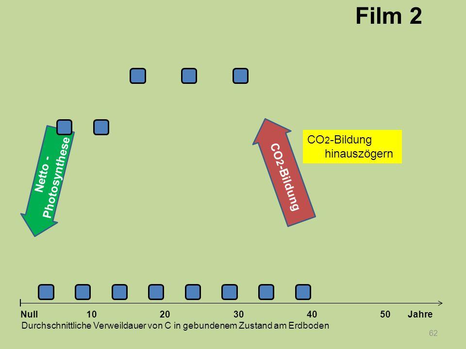 Netto - Photosynthese 62 1020304050 Jahre Durchschnittliche Verweildauer von C in gebundenem Zustand am Erdboden Null CO 2 -Bildung Film 2 CO 2 -Bildu