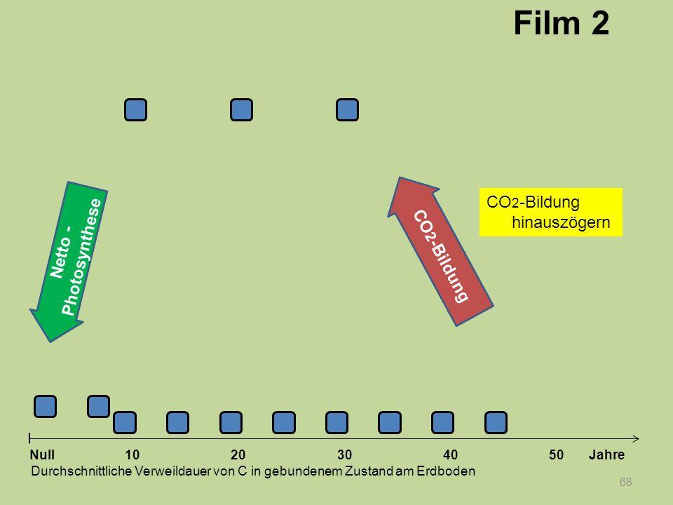 Netto - Photosynthese 68 1020304050 Jahre Durchschnittliche Verweildauer von C in gebundenem Zustand am Erdboden Null CO 2 -Bildung Film 2 CO 2 -Bildu