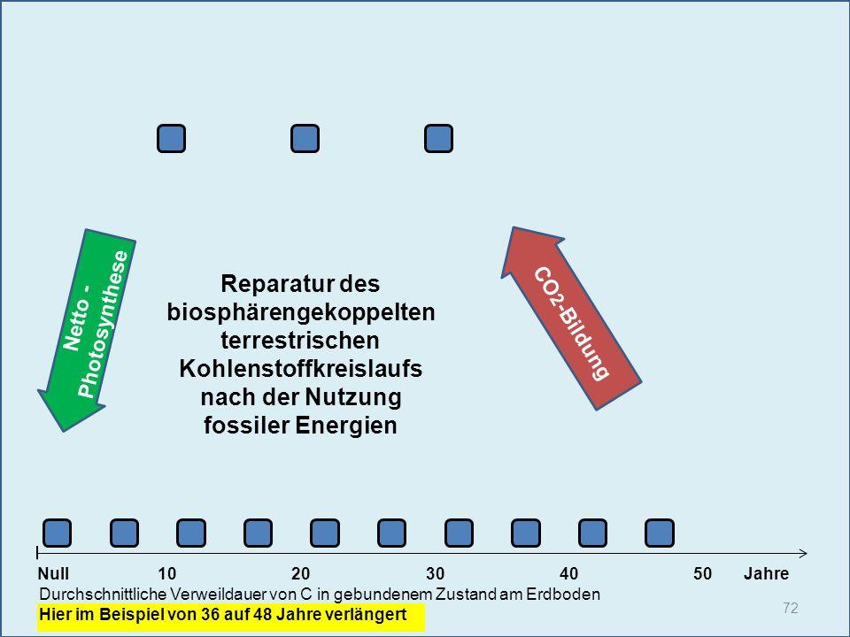 Netto - Photosynthese 72 1020304050 Jahre Durchschnittliche Verweildauer von C in gebundenem Zustand am Erdboden Hier im Beispiel von 36 auf 48 Jahre