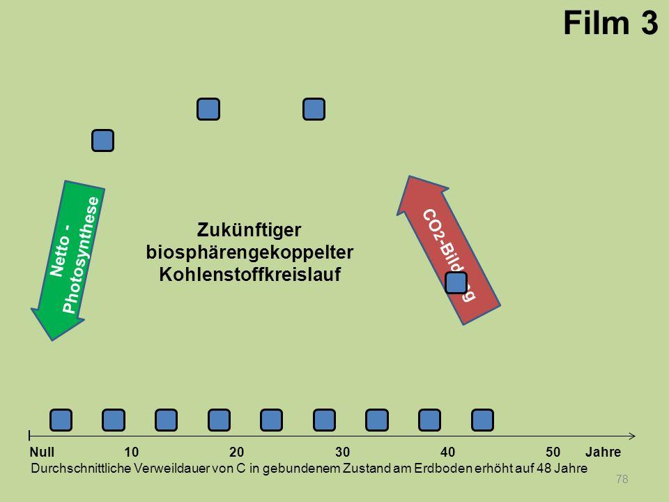 Netto - Photosynthese 78 1020304050 Jahre Durchschnittliche Verweildauer von C in gebundenem Zustand am Erdboden erhöht auf 48 Jahre Null CO 2 -Bildun