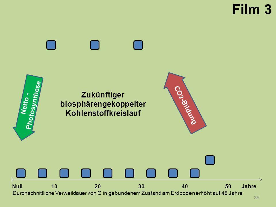 Netto - Photosynthese 86 1020304050 Jahre Durchschnittliche Verweildauer von C in gebundenem Zustand am Erdboden erhöht auf 48 Jahre Null CO 2 -Bildun
