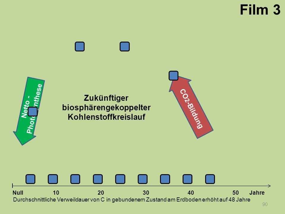 Netto - Photosynthese 90 1020304050 Jahre Durchschnittliche Verweildauer von C in gebundenem Zustand am Erdboden erhöht auf 48 Jahre Null CO 2 -Bildun