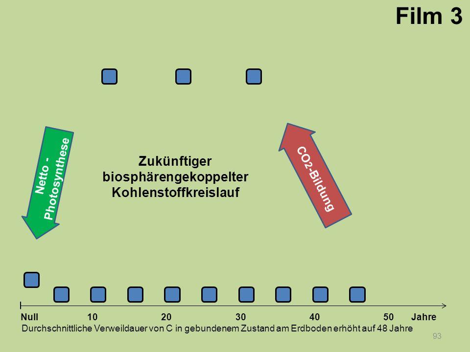 Netto - Photosynthese 93 1020304050 Jahre Durchschnittliche Verweildauer von C in gebundenem Zustand am Erdboden erhöht auf 48 Jahre Null CO 2 -Bildun