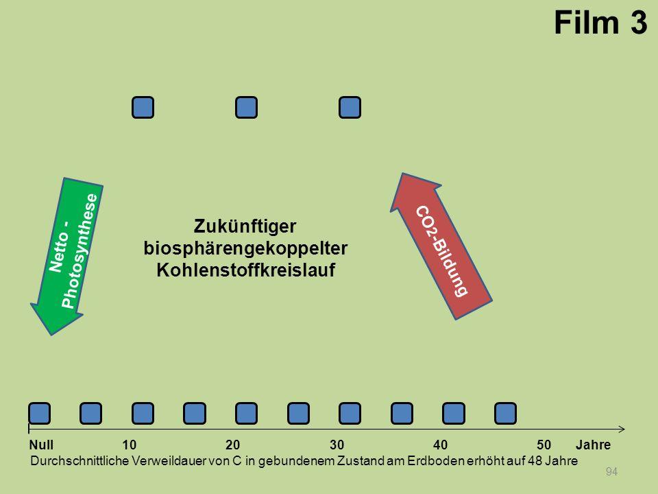 Netto - Photosynthese 94 1020304050 Jahre Durchschnittliche Verweildauer von C in gebundenem Zustand am Erdboden erhöht auf 48 Jahre Null CO 2 -Bildun