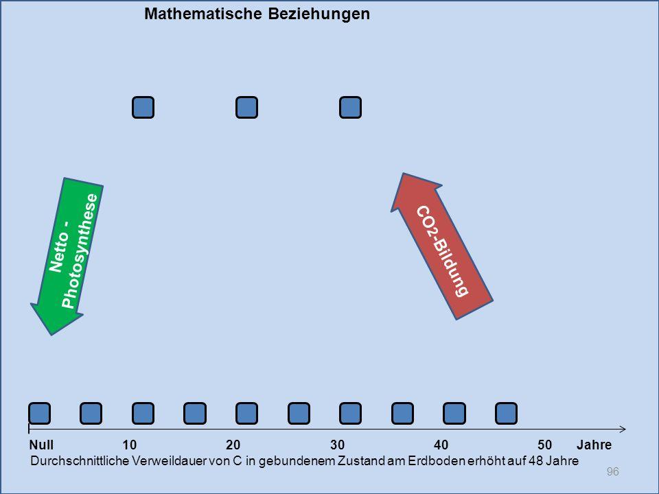 Netto - Photosynthese 96 1020304050 Jahre Durchschnittliche Verweildauer von C in gebundenem Zustand am Erdboden erhöht auf 48 Jahre Null CO 2 -Bildun