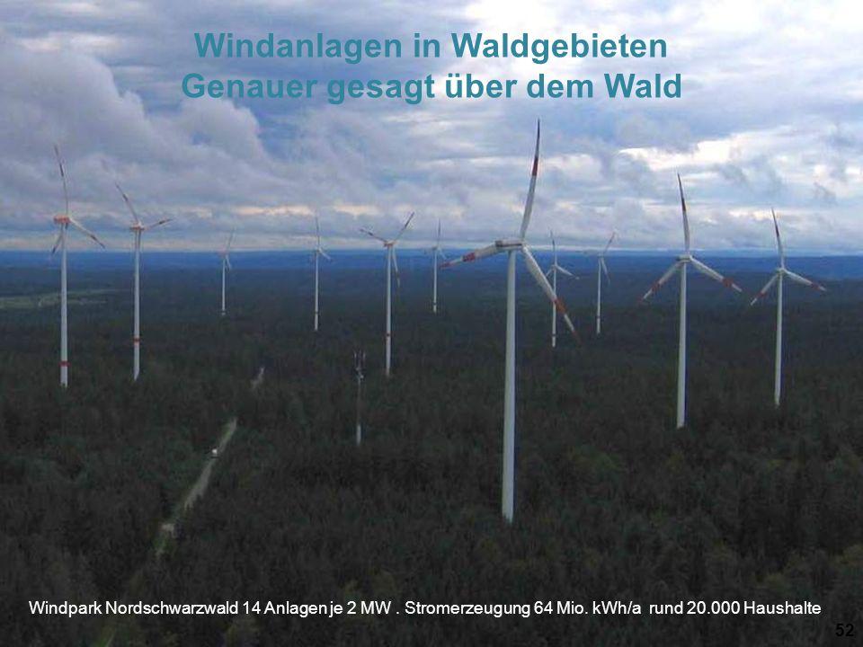 Windpark Nordschwarzwald 14 Anlagen je 2 MW. Stromerzeugung 64 Mio. kWh/a rund 20.000 Haushalte 52 Windanlagen in Waldgebieten Genauer gesagt über dem