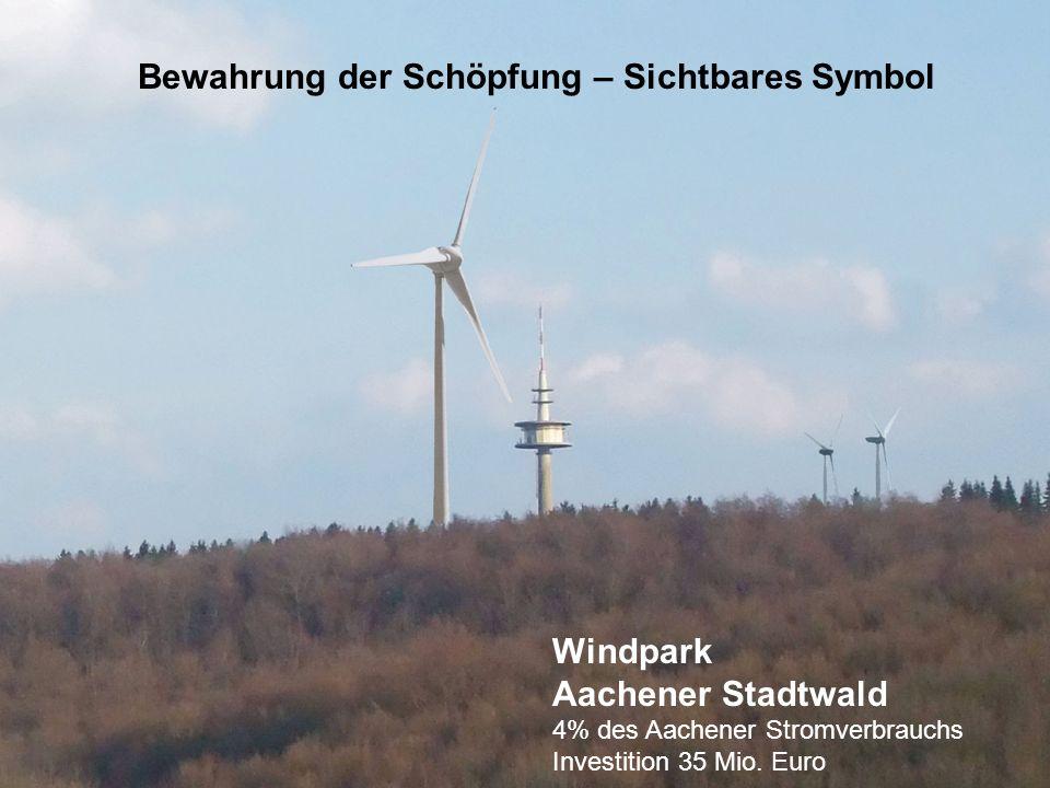 Windpark Aachener Stadtwald 4% des Aachener Stromverbrauchs Investition 35 Mio. Euro Bewahrung der Schöpfung – Sichtbares Symbol