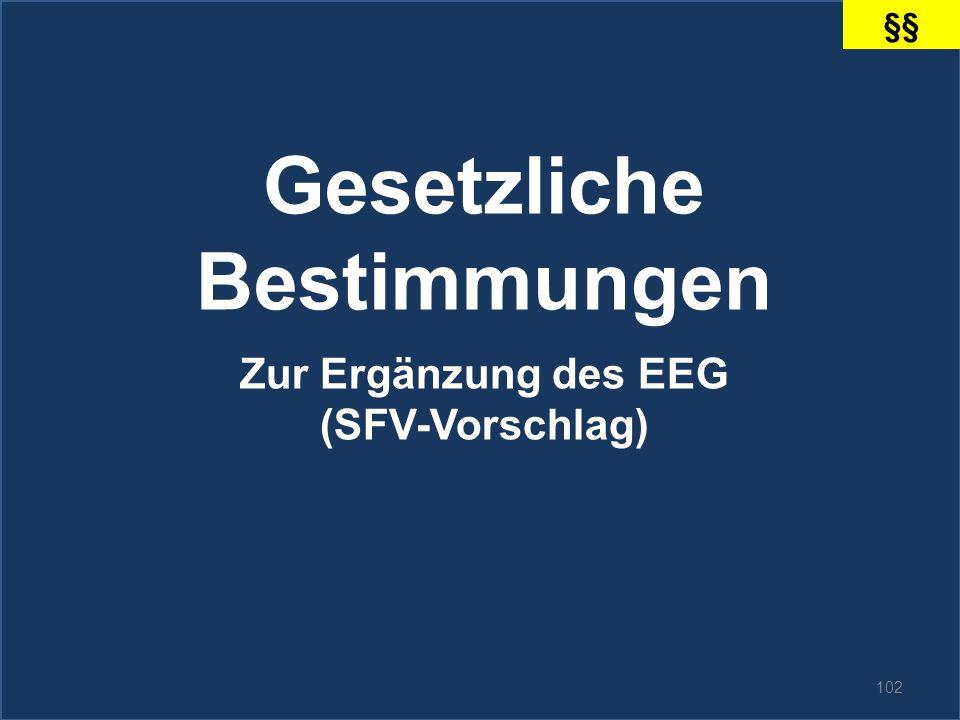 102 Gesetzliche Bestimmungen Zur Ergänzung des EEG (SFV-Vorschlag) §§