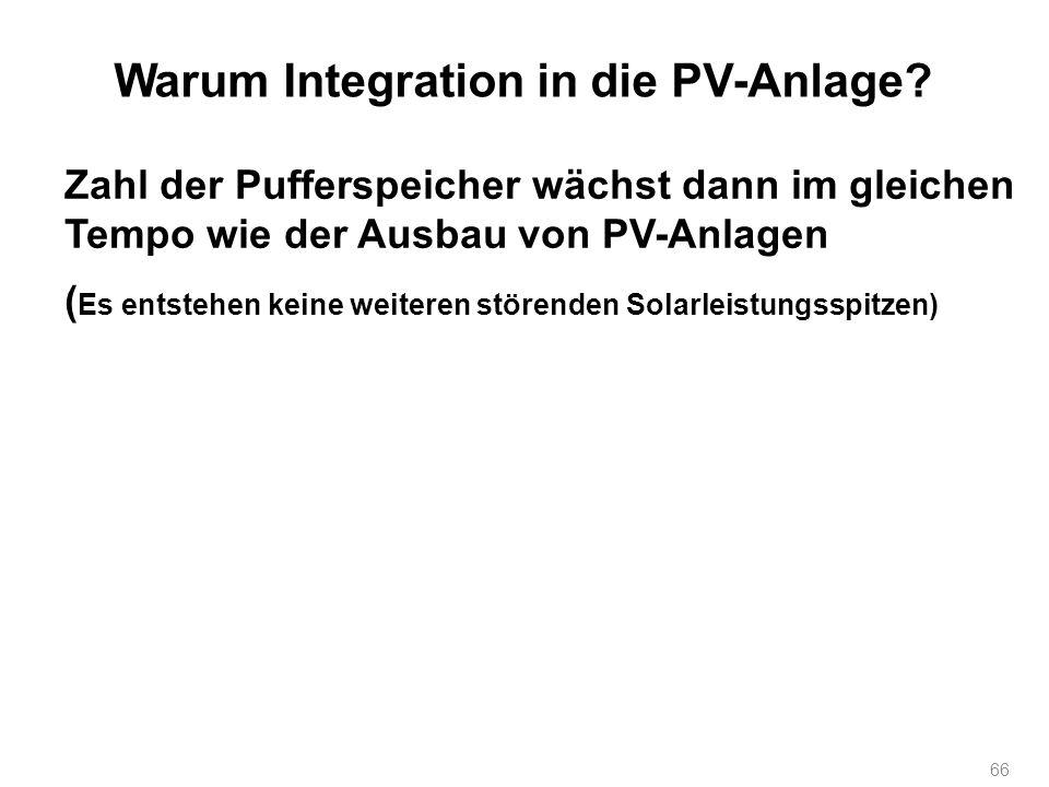 66 Warum Integration in die PV-Anlage? Zahl der Pufferspeicher wächst dann im gleichen Tempo wie der Ausbau von PV-Anlagen ( Es entstehen keine weiter
