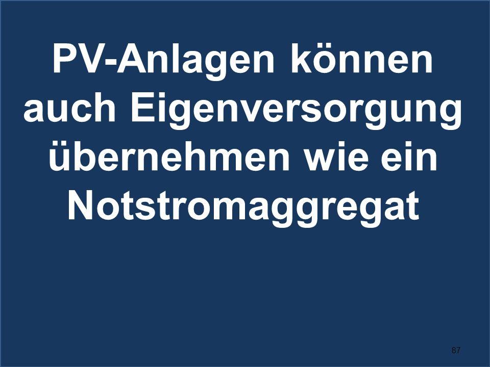 87 PV-Anlagen können auch Eigenversorgung übernehmen wie ein Notstromaggregat