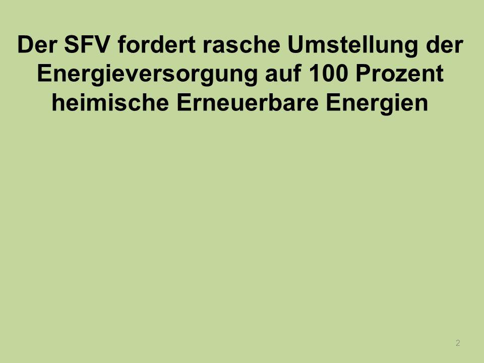 2 Der SFV fordert rasche Umstellung der Energieversorgung auf 100 Prozent heimische Erneuerbare Energien