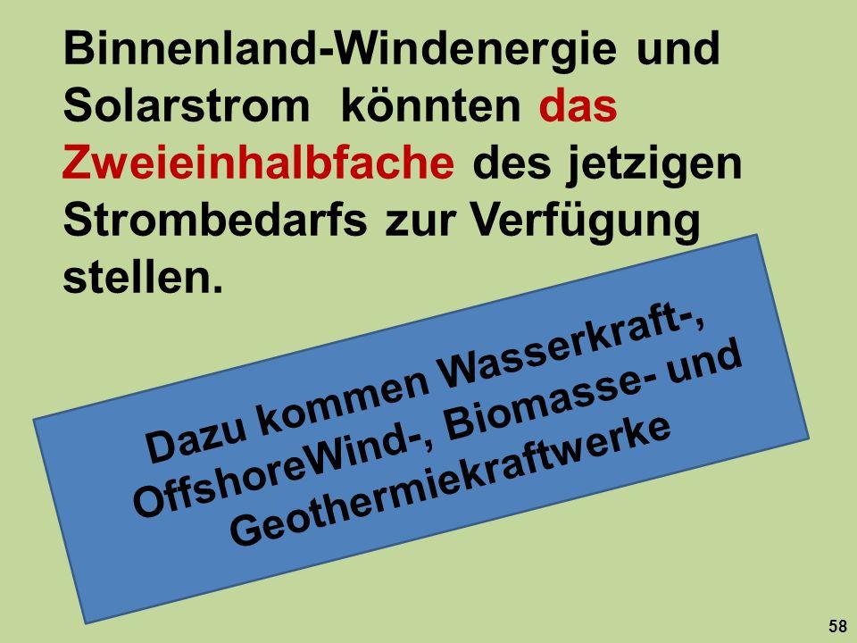 Dazu kommen Wasserkraft-, OffshoreWind-, Biomasse- und Geothermiekraftwerke Binnenland-Windenergie und Solarstrom könnten das Zweieinhalbfache des jetzigen Strombedarfs zur Verfügung stellen.