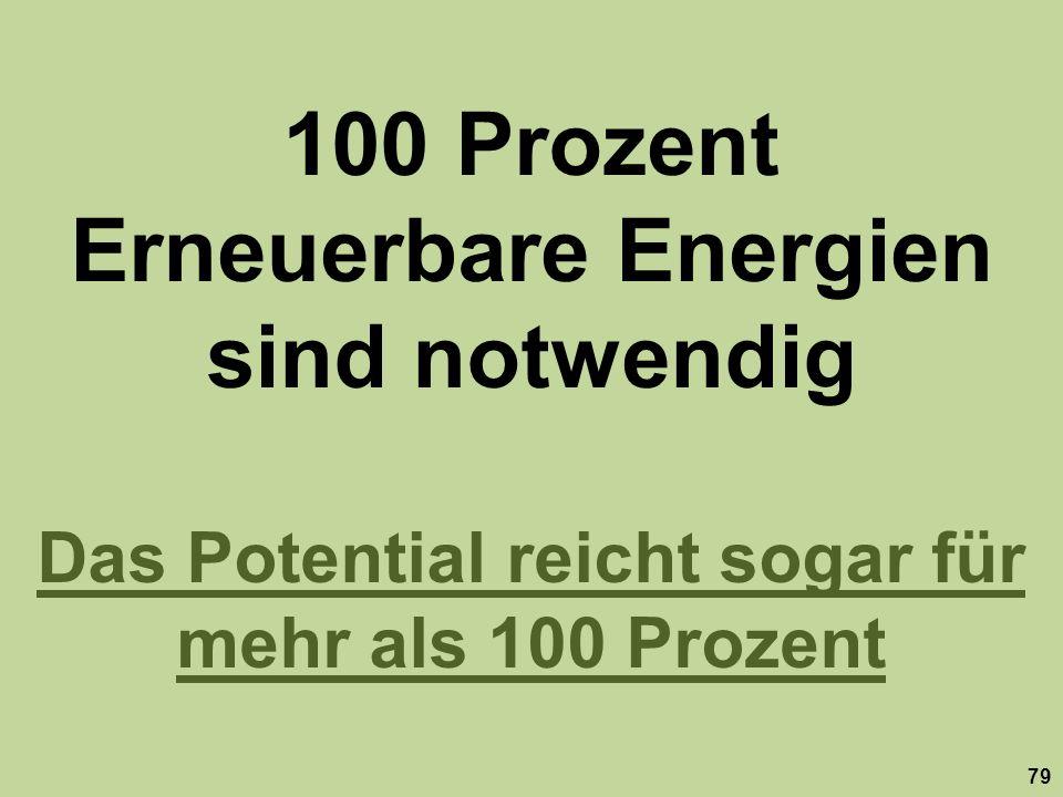 100 Prozent Erneuerbare Energien sind notwendig Das Potential reicht sogar für mehr als 100 Prozent 79