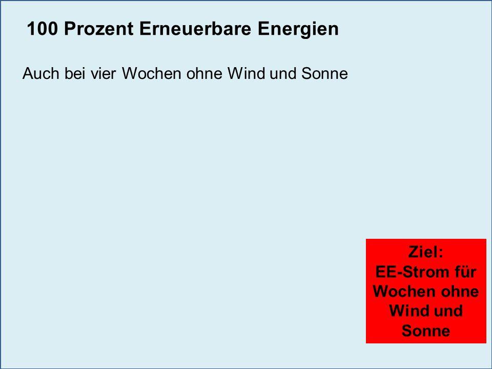 Ziel: EE-Strom für Wochen ohne Wind und Sonne Strategische Reserve: 100 Prozent Erneuerbare Energien Auch bei vier Wochen ohne Wind und Sonne