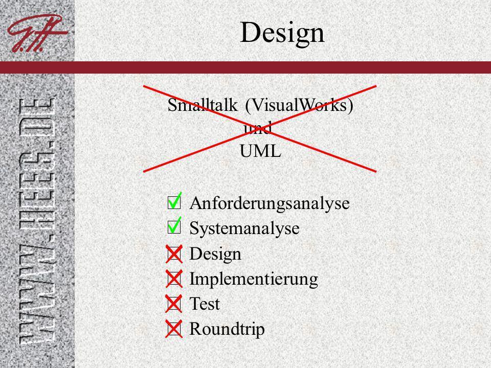 Design Keine explizite Trennung zwischen Design und Implementierung Iterative (experimentelle) Implementierung Verfeinerung von Design nach Realisierung einfache Refaktorisierung (automatisiert mit RefactoringBrowser) direkt testbar (SUnit-Test)