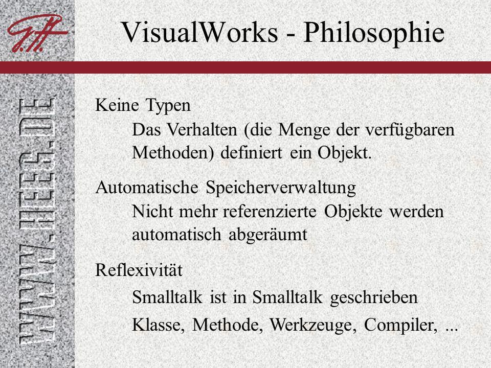VisualWorks - Philosophie Alles ist ein Objekt Lebende Objekte Jede Komponente im einem VisualWorks System ist ein Objekt, das mit anderen Objekten interagiert.