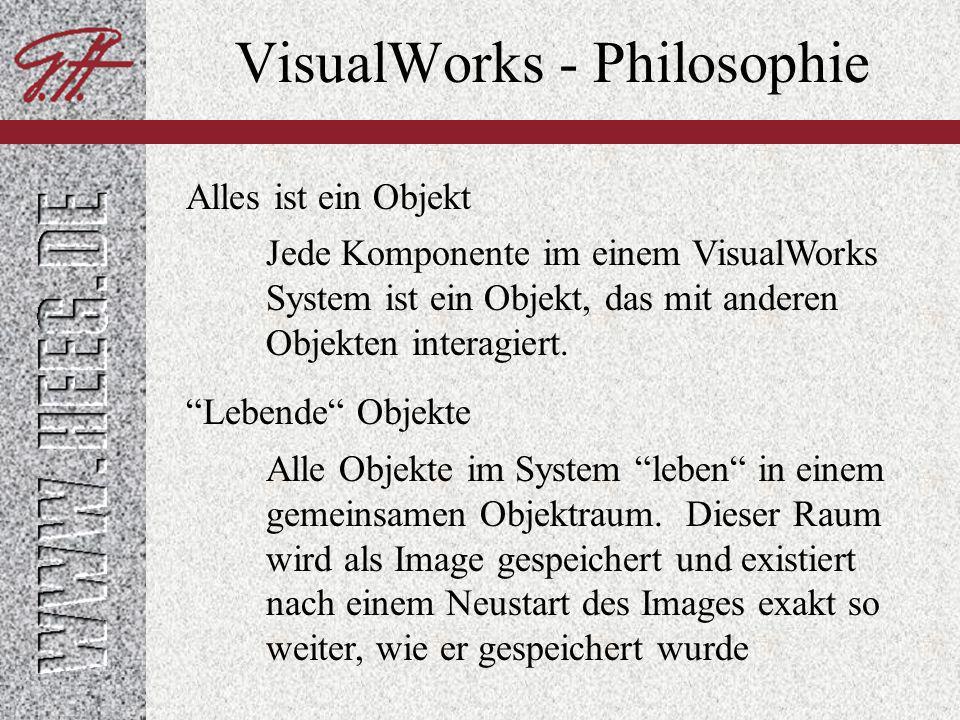VisualWorks - Philosophie Uniformität Erweiterbarkeit Wissensbasis Alle Klassen können in sich erweitert werden Uniformer Zugriff auf alle Konstrukte im Image.