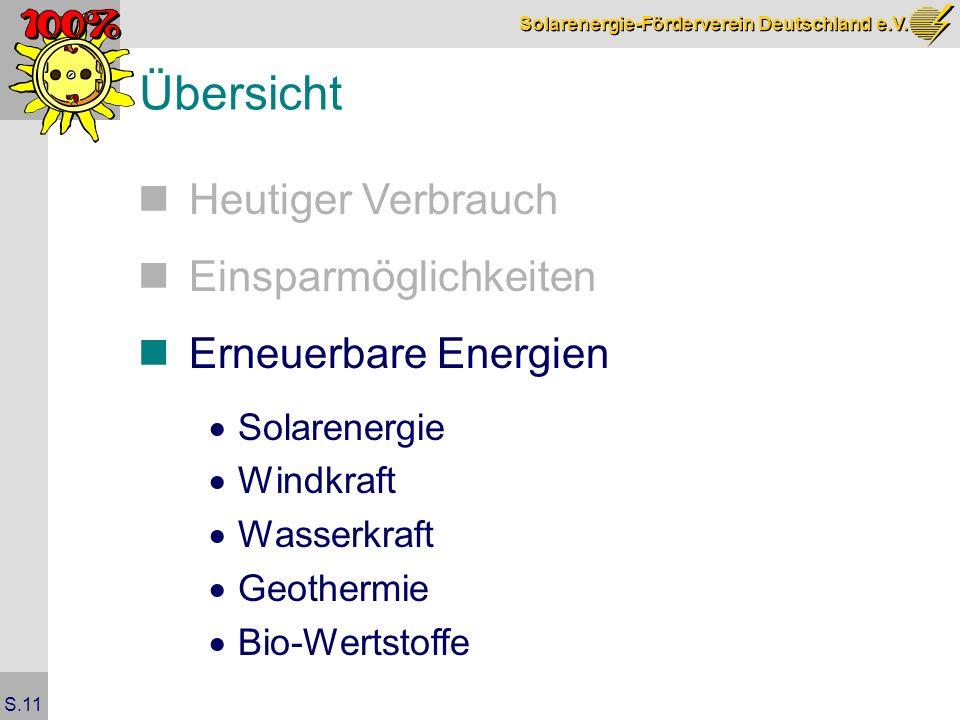 Solarenergie-Förderverein Deutschland e.V. S.11 Übersicht Heutiger Verbrauch Einsparmöglichkeiten Erneuerbare Energien Solarenergie Windkraft Wasserkr