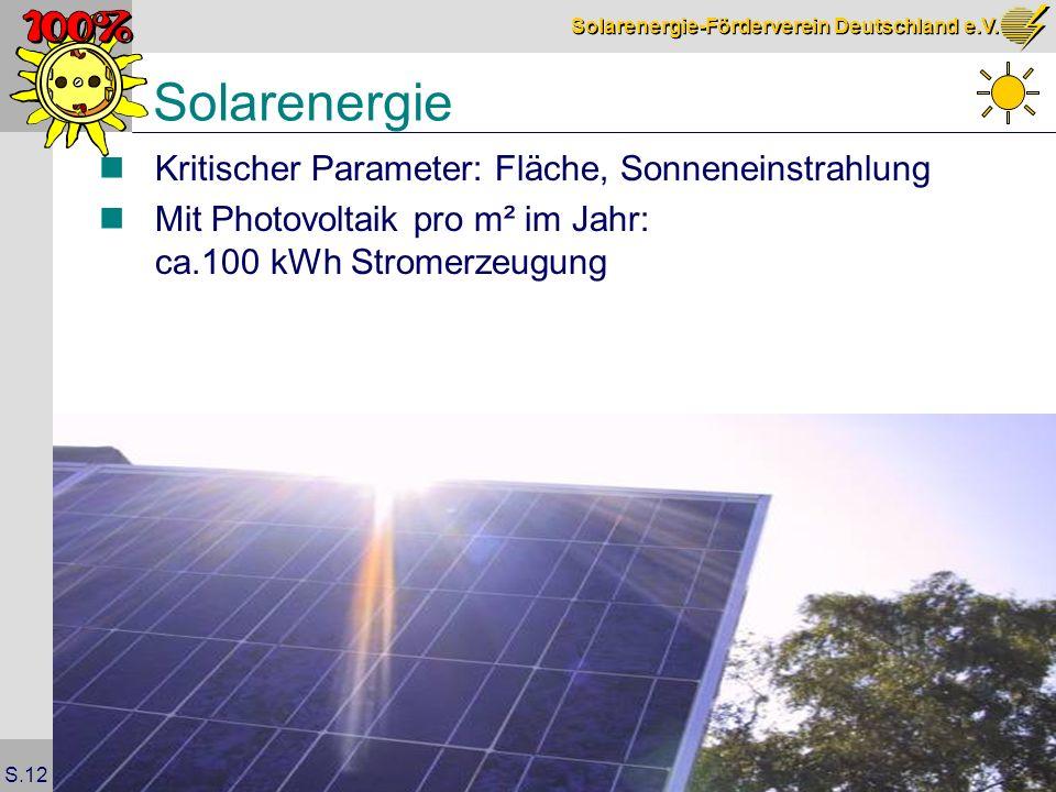 Solarenergie-Förderverein Deutschland e.V. S.12 Solarenergie Kritischer Parameter: Fläche, Sonneneinstrahlung Mit Photovoltaik pro m² im Jahr: ca.100