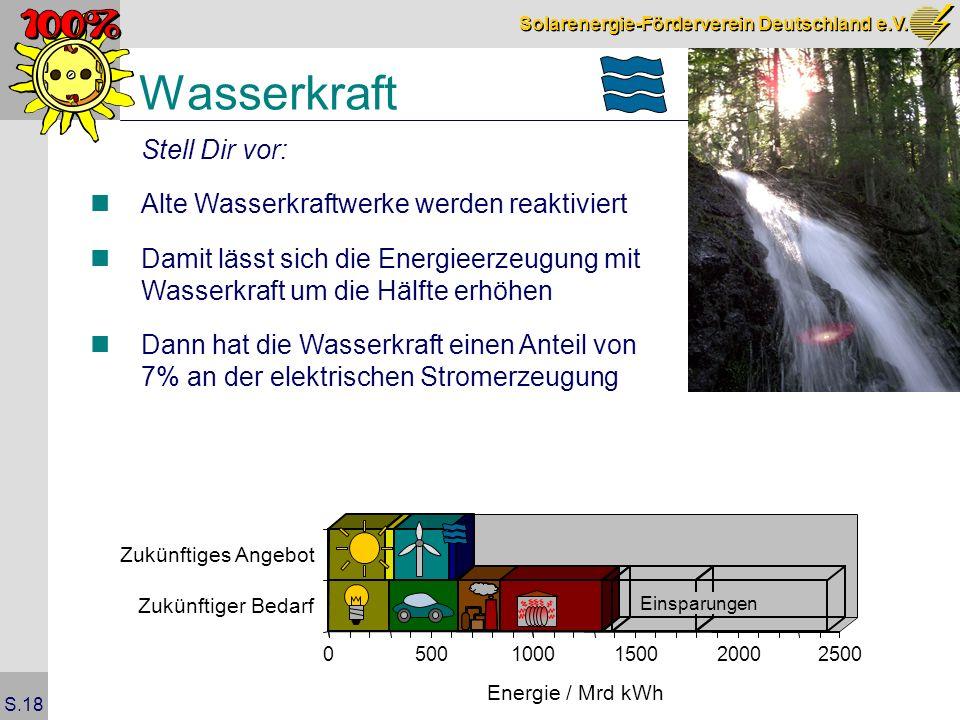 Solarenergie-Förderverein Deutschland e.V. S.18 Wasserkraft Stell Dir vor: Alte Wasserkraftwerke werden reaktiviert Damit lässt sich die Energieerzeug