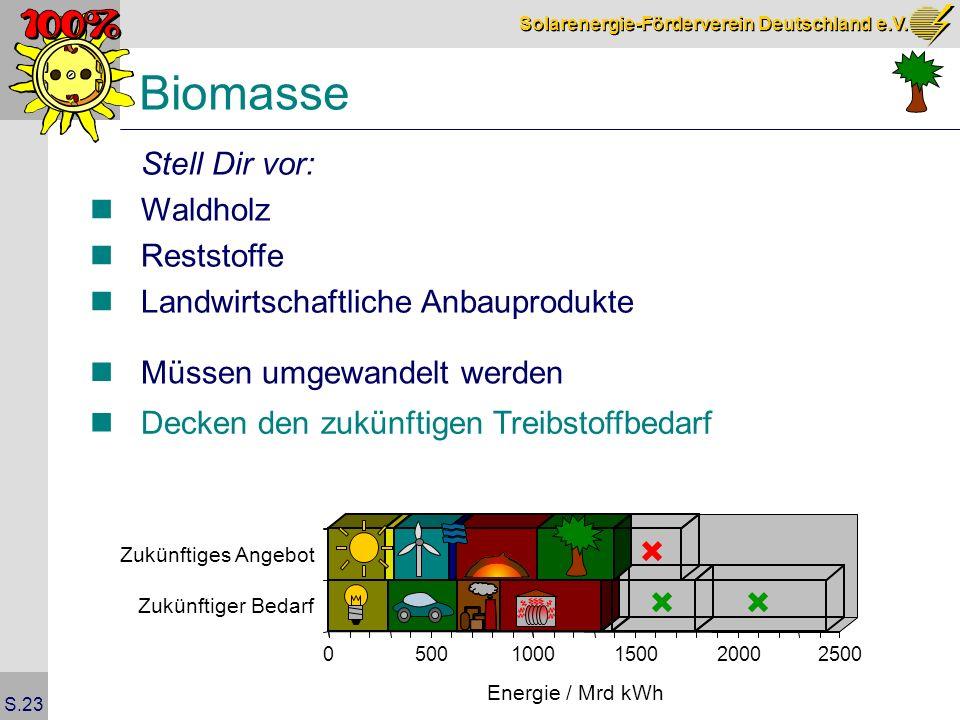 Solarenergie-Förderverein Deutschland e.V. S.23 Biomasse Stell Dir vor: Waldholz Reststoffe Landwirtschaftliche Anbauprodukte Müssen umgewandelt werde