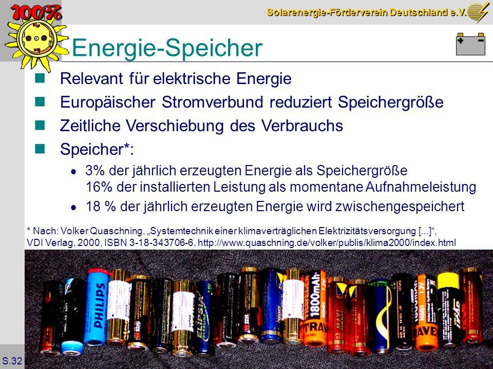 Solarenergie-Förderverein Deutschland e.V. S.32 Energie-Speicher Relevant für elektrische Energie Europäischer Stromverbund reduziert Speichergröße Ze