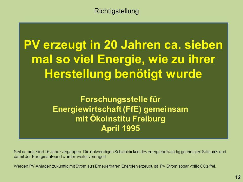 PV erzeugt in 20 Jahren ca. sieben mal so viel Energie, wie zu ihrer Herstellung benötigt wurde 12 Forschungsstelle für Energiewirtschaft (FfE) gemein