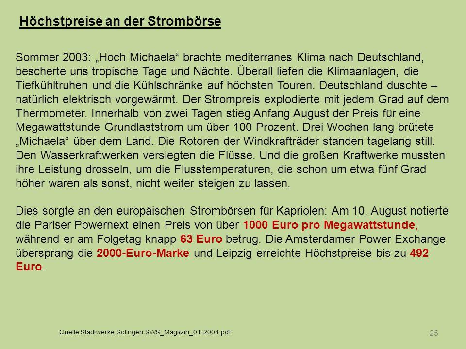 25 Sommer 2003: Hoch Michaela brachte mediterranes Klima nach Deutschland, bescherte uns tropische Tage und Nächte. Überall liefen die Klimaanlagen, d