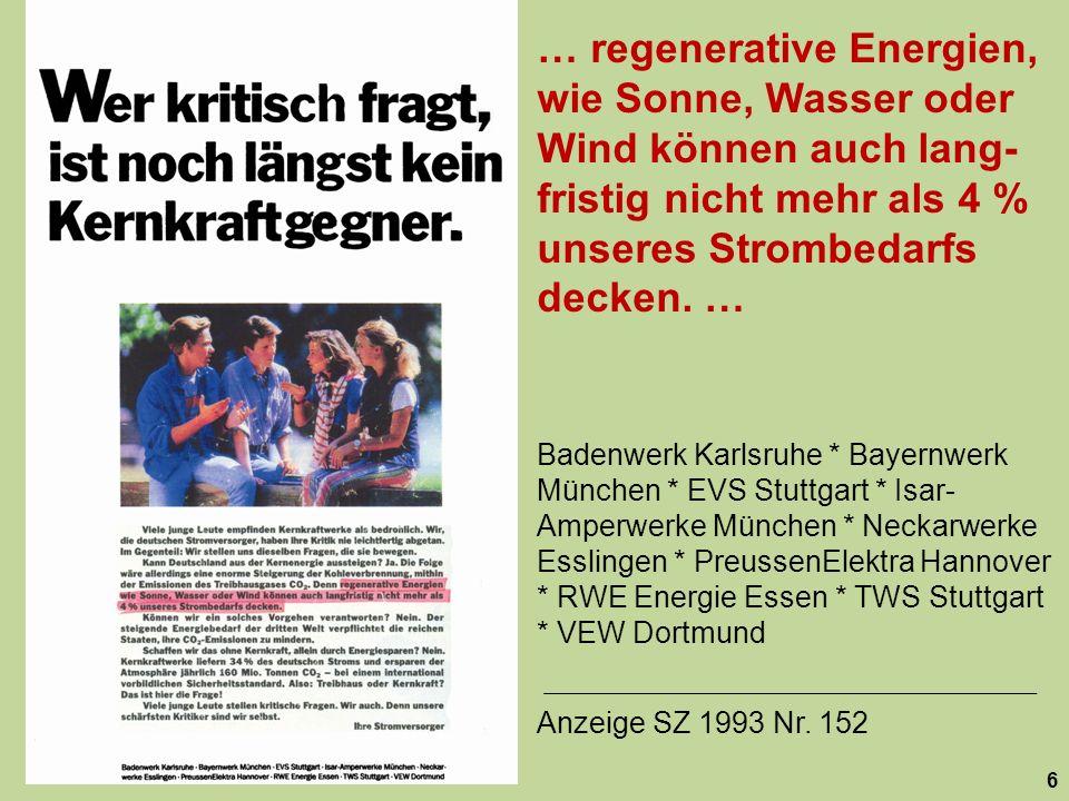 … regenerative Energien, wie Sonne, Wasser oder Wind können auch lang- fristig nicht mehr als 4 % unseres Strombedarfs decken. … 6 Badenwerk Karlsruhe